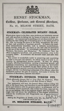 Henry Stockman, Coiffeur, Perfumer and General Merchant, 27, Milsom Street, Bath 1849