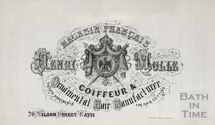 Henri Molle, Coiffeur & Ornamental Hair Manufacturer, 26, Milsom Street, Bath 1860