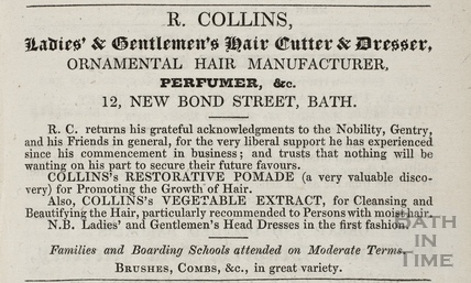R. Collins Ladies and Gentleman's Hair Cutter and Dresser, 12, New Bond Street, Bath 1835