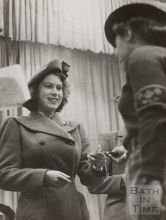 The Princess making a presentation, Bath 1945