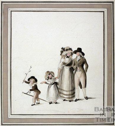 Family Walking. Watercolour c.1785