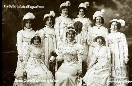 Bath Historical Pageant. Episode 8. Queen Charlotte and Maids of Honour July 1909