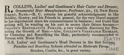 R. Collins, Ladies and Gentlemen's Hair Cutter and Dresser, 12, New Bond Street, Bath 1836