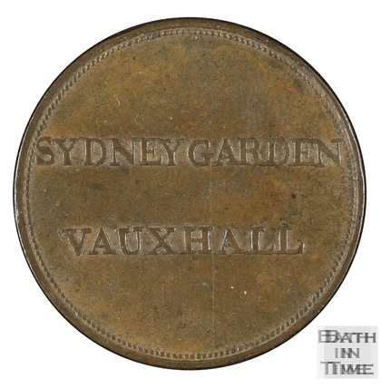 Sydney Gardens copper ticket, Bath 19th century