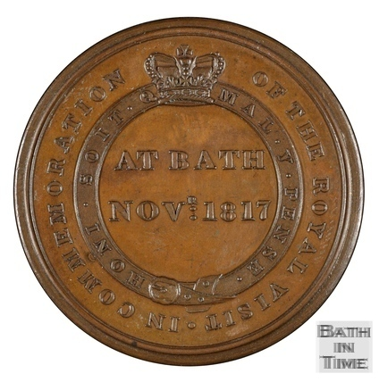 Commemorative medallion of the visit of Queen Charlotte to Bath 1817