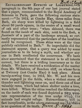 Extraordinary Effects of Lightning, Combe Hay 1861