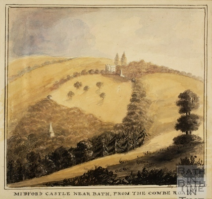 Midford Castle, near Bath from the Combe Road 1850