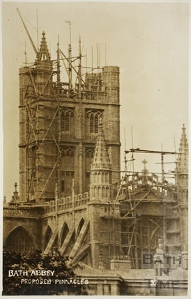 Construction of the new pinnacles, Bath Abbey, Bath 1906