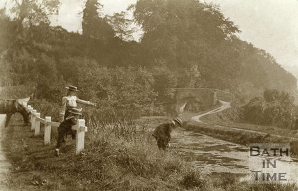 Children by the Somersetshire Coal Canal, Tucking Mill c.1905