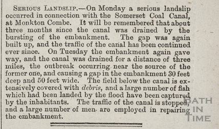Serious Landslip at Monkton Combe 1873
