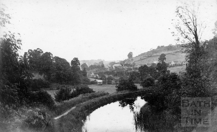 Longmead and the old Pavilion from the Somersetshire Coal Canal near the viaduct, Monkton Combe c.1906