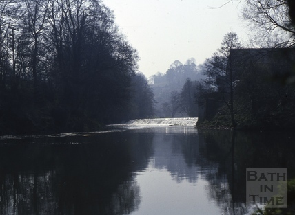 River Avon and weir, Limpley Stoke c.1975