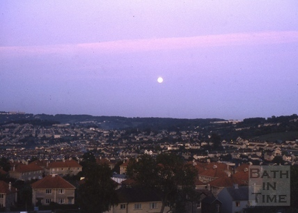 View of Bath from Twerton with the moon 1975