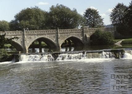 The Toll Bridge and weir, Bathampton c.1975