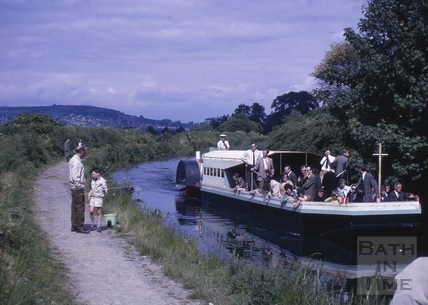 Passenger boat on the Kennet and Avon Canal, Bathampton c.1964