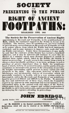 Ancient Footpaths, Bath - A public notice October 1852