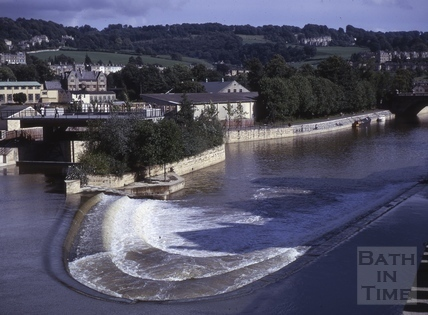 The new weir at Pulteney Bridge, Bath 1973