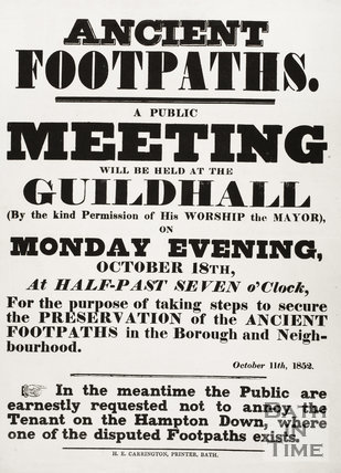 Ancient Footpaths, Bath - A public meeting October 1852