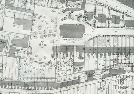 Detail of the St Marks Road, Bath  area of the 1886  Os Map