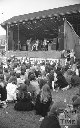 Support band for the Bay City Rollers at the Rec, Bath, 29 June 1974