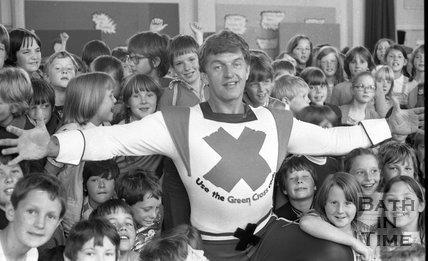 David Prowse, The Green Cross Man visits Moorlands Junior School, Bath, 22 June 1981