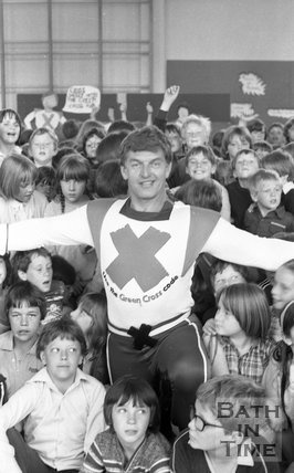 David Prowse, The Green Cross Man visits Moorlands Junior School, Bath, 22 June 1981