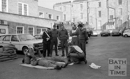 RAF Crews practice first aid at the TR Centre, Upper Bristol Road,  Bath, 17 November 1977