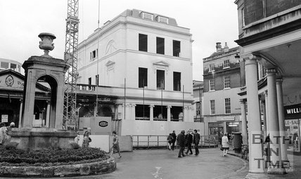 The newly built Roman Baths Shop on the corner of Stall Street and York Street, Bath, 28 December 1972