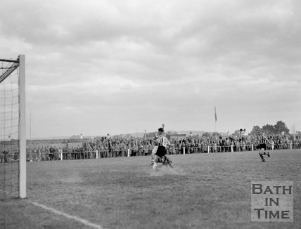Goalmouth action at Twerton Park, c.1963