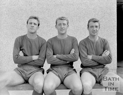 Three players for an unidentified football team local to Bath, c.1963