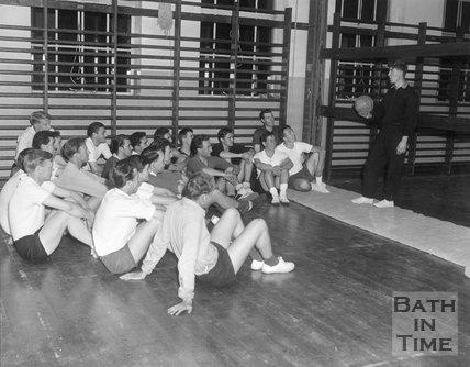 Bath City football club training talk in the gym, c.1963