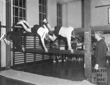 Bath City football club training in the gym, c.1963