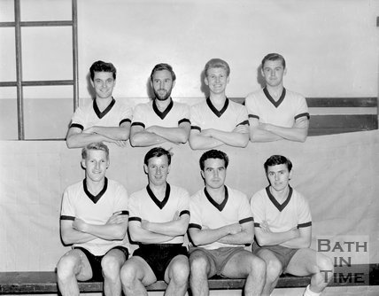 Bath City football club training in the gym, c.1963