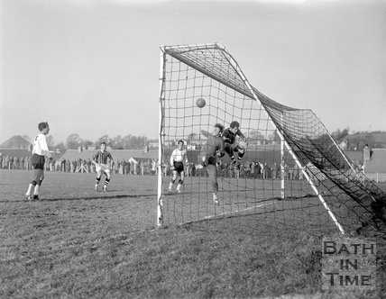 Goalmouth action at Bath City Football Club, c.1962