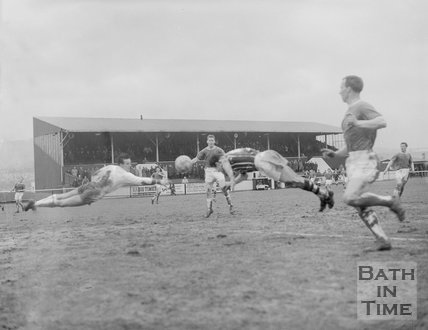 A diving header from a Bath City Football Club player, c.1962