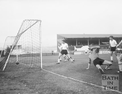 Bath City score at Twerton Park, c.1963