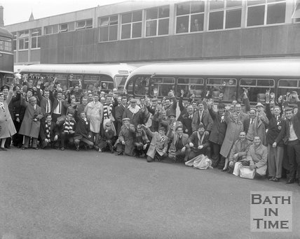 Fans about to travel to Bolton following Bath City football club, Wednesday January 8, 1964