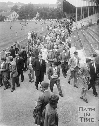 Fans leaving the Recreation Ground after a Bath Rugby match, c.1963