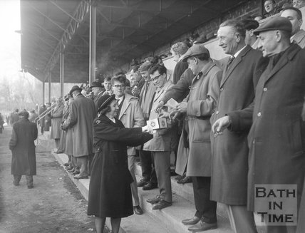 St John Ambulance collecting at a Bath Rugby game at the Recreation Ground, c.1963