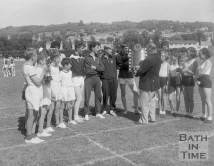 Presentation of the Challenge Shield for the Inter Schools Sports Competition, c.1963