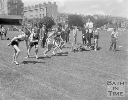 The start of a running race on the Recreation Ground, Bath, c.1963