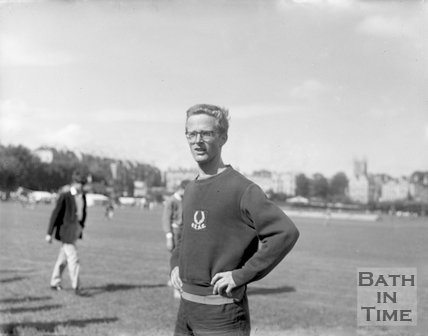 An athletics competitor on the Recreation Ground, Bath, c.1963