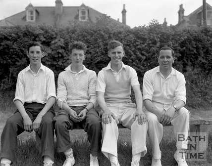 Four cricketers in Bath, c.1963
