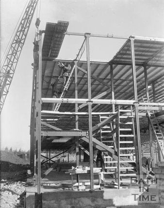 An unidentified building in the Bath area under construction, c.1963