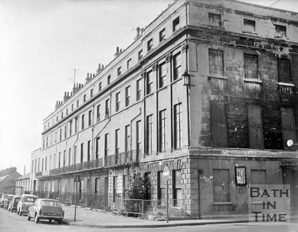 The corner of Nelson Place and Nile Street, Bath, c.1963