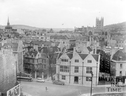 View of Abbey Church House from the roof of Bath College, Bath, c.1963