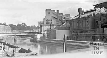 The Bath Gas Works and Windsor Bridge, Bath, c.1963