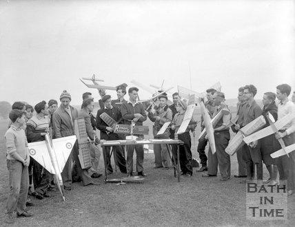 A model plane flying club in Bath, c.1963