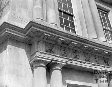 Restored detail of the Circus, Bath, c.1964