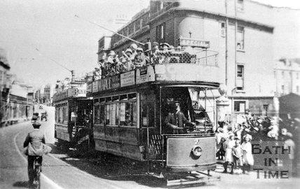 Bath Electric Tram number 7 on London Road Bath, c.1910